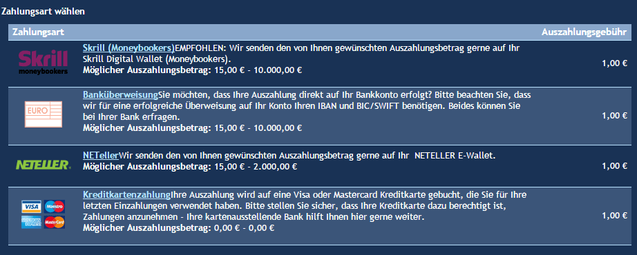 Skill7 Auszahlung